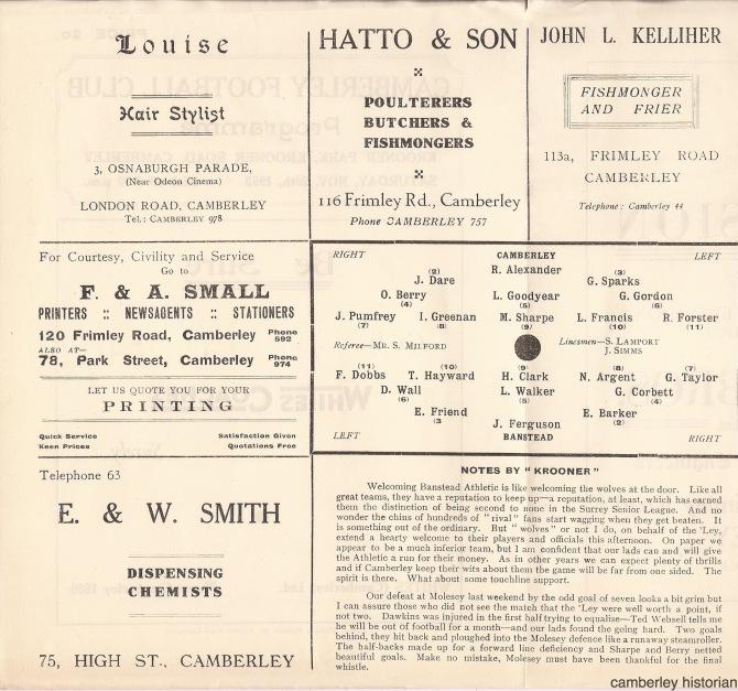 1953 Football programme 1