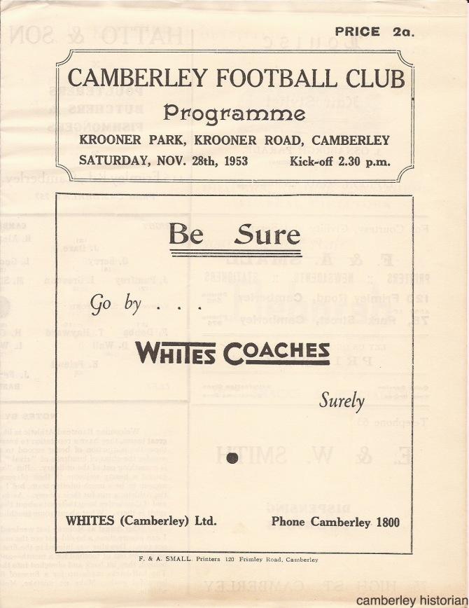 1953 Football programme