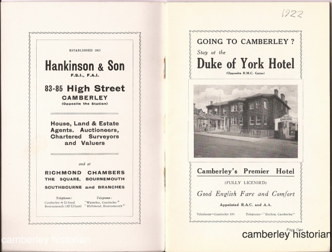 Camberley guidebook 1930s 1