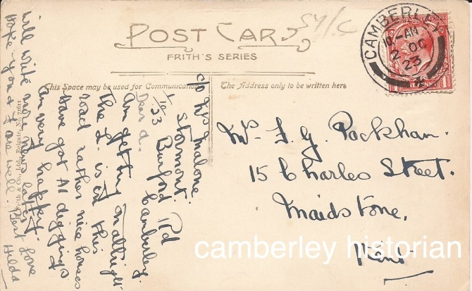 Camberley postcards bought 2015 16